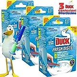 Confezione Risparmio 3X Duck Fresh Discs Freschezza Marina Toilet Cleaner e Applicatore Gel by Johnson, 3 Confezioni da 36ml Marine 5in1 con Applicatore, durata fino a 8 Settimane, Pulizia e Igiene per il tuo Bagno WC