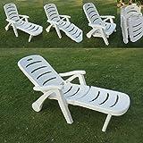 'Amaze' Folding Swimming Pool Farm house Garden Sun bed Beach Lounger Beach Bed Beach Lounger Chair - Plastic - 3 Fold -White