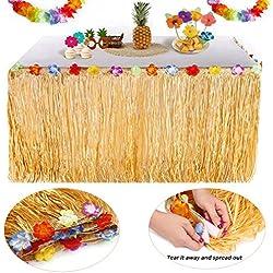 YQing Hawaii Luau Tischröcke - 9.6ft Hawaiian Luau Hibiscus Gras Tisch Rock mit 26 Faux Seidenblumen für BBQ Tropischen Garten Strand Sommer Tiki Party Dekoration (Gold)