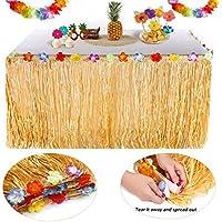 YQing Hawaiian Luau Tisch Rock - 9.6ft Hawaiian Luau Hibiscus Gras Tisch Rock mit 26 Faux Seide Blumen für BBQ Tropischen Garten Strand Sommer Tiki Party Dekorationen