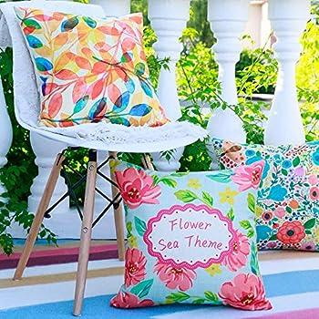 ZWNSWD 4 pièces Housse de Coussin Coton Confortable Taies d'oreiller Style Pastoral Carré Pillowcases Convient à Salon/canapé-lit, décoration du siège (sans Noyau),A,45 * 45CM