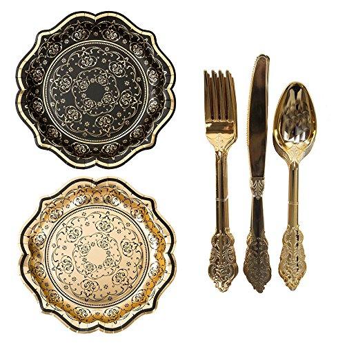 Talking Tables Porzellan Barock Masquerade Party Bundle | Designer Vereitelt Party Teller & Einweg Party Besteck Set, Gold (Platten Designer Papier)