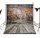 LOVE-BABY Thin Vinyl Backdrop Classic Brick Wall With Wood Floor Photography Background 10X10FT/300x300cm Photo Props For Studio / Stage / Events DZ369