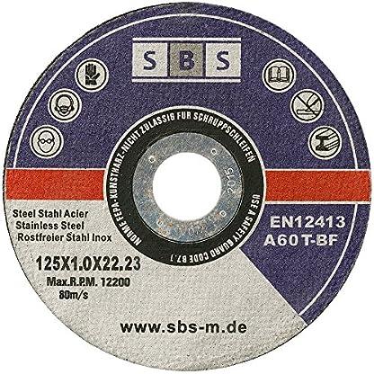 SBS – Disco de corte inoxidable (100 unidades, 125 x 1 mm, flexible)