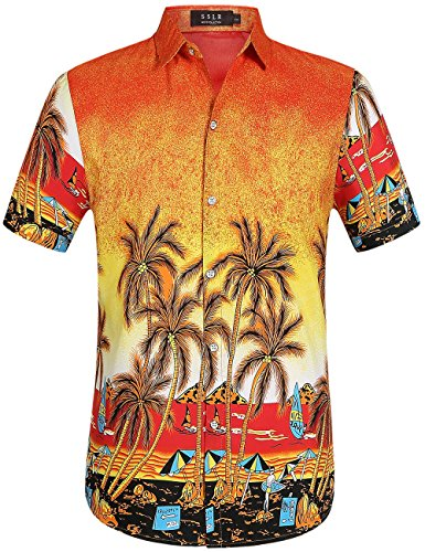 SSLR-Camisa-Hawaiana-Aloha-para-Hombre-Casual-de-Playa-Tropical-Medium-Naranja
