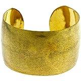 Chic-Net Messing Brass Armreif golden schraffiert breit gewölbt 38 mm nickelfrei verstellbar antik Tribal