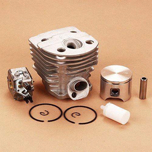 Laliva 46 mm Zylinderkolben-Set + Walbro Vergaser + Kraftstofffilter für Husqvarna 55 51 Kettensäge Carb # 503281504