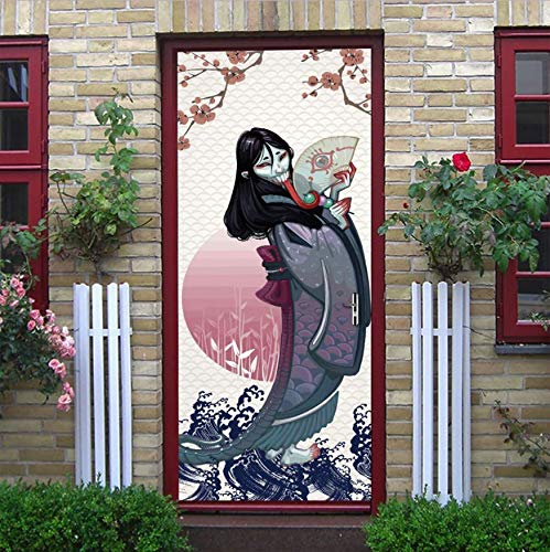 XSLIVE Türaufkleber Japanische Ghost Scary Exquisite Blumenmuster Wandaufkleber Türpflege Wand Tür Party Halloween Dekoration 77 * 200CM