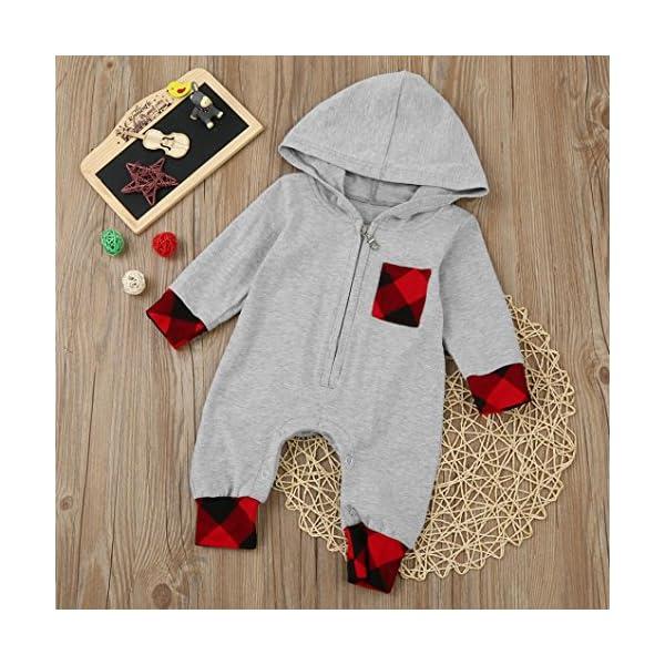 Tefamore ❤️Ropa para niños bebés Conjunto, Plaid con Capucha Mameluco Jumpsuit Trajes Ropa, 3-18M 3