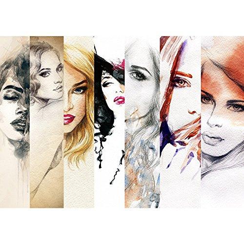 Vlies Fototapete PREMIUM PLUS Wand Foto Tapete Wand Bild Vliestapete - FACES OF WOMEN - Aquarell Frauen Woman Zeichnung Gesichter Schön Beauty - no. 116, Größe:200x140cm Vlies