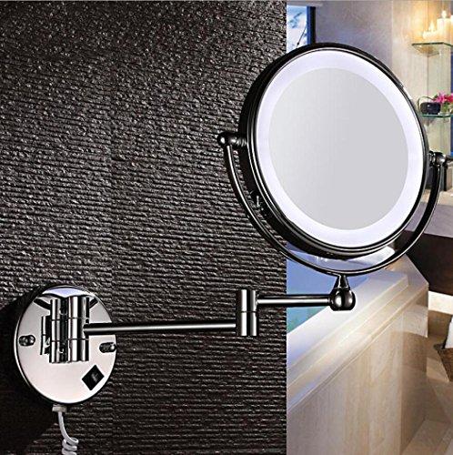 LyMei LED Beauty Mirror Doppelseitiger Kosmetikspiegel - Schminkspiegel, 360 ° Free Rotation 3X/Vergrößerung, Chrom Poliert