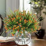 MIHOUNION 4 Stück Künstliche Sträucher Kunststoff Kunstblumen Orange Gypsophila Künstlich Plastikblumen Kunstpflanzen Arrangement Home Garten Büro Veranda Deko - 2