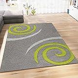 VIMODA Teppich Modern Wohnzimmer Teppiche Grün Grau Kreisel Muster Hochwertig Handgeschnittene Konturen 80x150 cm