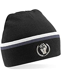 45REVS Northern Soul Fist Keep The Faith Knitted Ski Hat. Black