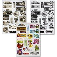 110035 - Pack de 18 Hojas de pegatinas adhesivas de felicitación, para regalos, scrapbooking, 60 pegatinas, a color, doradas y plateadas