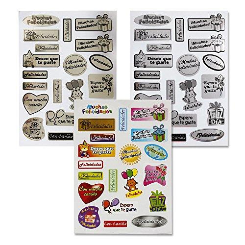 110035 - Pack 18 Hojas pegatinas adhesivas felicitación