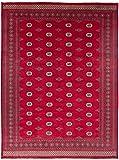 CarpetFine: Pakistan Buchara 2ply Teppich 276x367 Rot - Handgeknüpft - Geometrisch