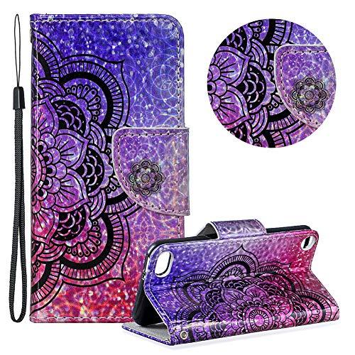 r iPod Touch 5,Laser Wallet Handyhülle für iPod Touch 6,Moiky Ultra Dünn Stilvoll Hälfte Blume Muster Geprägt Klappbar Stand Silikon Handytasche ()