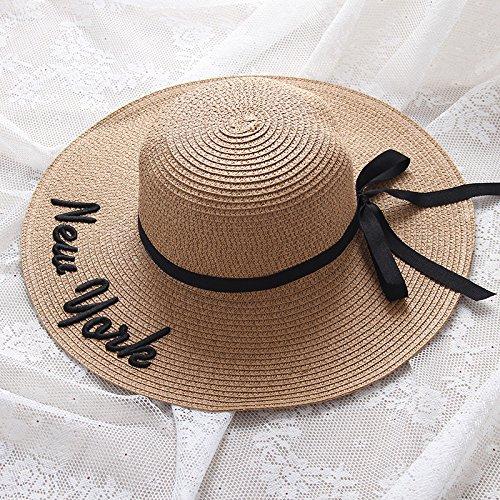 YXLMZ Meine Damen Frauen Hüte Outdoor Visor Sonnencreme Sonnenhut englische Stickerei W as Stilvolle Küste Sonnenhut Khaki verstellbar (56-58 cm).