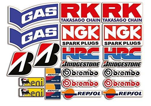 Set de 22 pegatinas para moto de patrocinadores para SBK, Honda, Yamaha,...