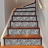 LT&DM Treppenaufkleber 3D Renoviert DIY Bodenabziehbilder Herausnehmbar Wasserdicht Arabischer Stil Keramikfliese Muster Persönlichkeit Wandtattoo Zuhause Dekoration