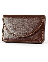Honeysuck Fashion Men Name Card Case Wallet Holder Leather Business Card Storage Bag (Brown)