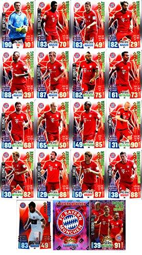 Match Attax Bundesliga 2015 2016 - Karten-Set FC Bayern München Cap Offensiv-Trio Teamlogo - Deutsch (2015 Topps Fußball Karten)