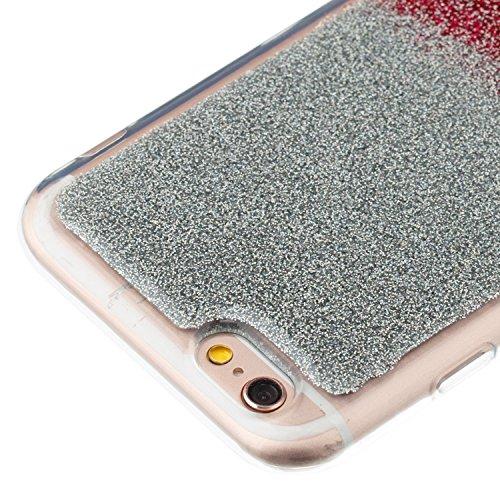 Girlyard Bling Custodia per iPhone 6S/6 Sottile Lusso Brillantini - Glitter Luminosa Colorato Retro Coperture Protettiva Caso Cover in Silicone TPU Morbido Antiurto per Apple iPhone 6/6S 4.7 (Argento Argento Rosso Rosa