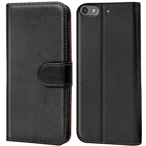 Verco G Play Mini Hülle, Handyhülle für Huawei G Play Mini Tasche PU Leder Flip Case Brieftasche - Schwarz