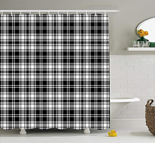 XIAOYI Abstract Decor Shower Curtain, British Tartan Pattern with Vertical and Horizontal Symmetric Stripes Image, Fabric Bathroom Decor Set with Hooks, 60 * 72inch Long, Black White -