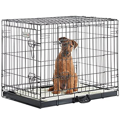 eSecure S-XL Folding 2 Door Black Puppy & Dog Pet Crate Cage with Non-Chew Metal Tray