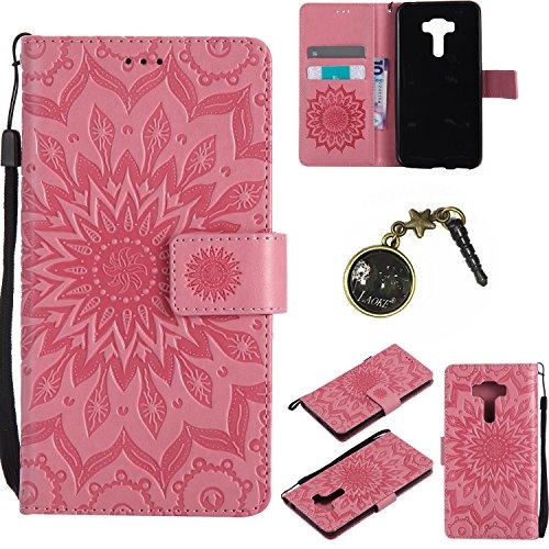 Preisvergleich Produktbild für Asus ZenFone 3 (ZE552KL) Hülle,Hochwertige Kunst-Leder-Hülle mit Magnetverschluss Flip Cover Tasche Leder [Kartenfächer] Schutzhülle Lederbrieftasche Executive Design +Staubstecker (8GG)