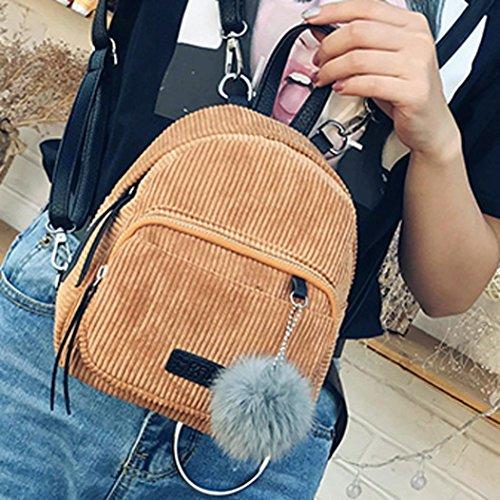 BZLine® Frauen Leder Rucksäcke Schulranzen Travel Rucksack Schultasche, 24cm*20cm*10cm Khaki