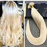 Ugeat Bleach Blond Remy Echthaar Extensions Bondings 50 Echthaarstrahnen 20 Zoll/50cm Flat Tip Glatt Brasilianisch Haarverlangerung 1g/s