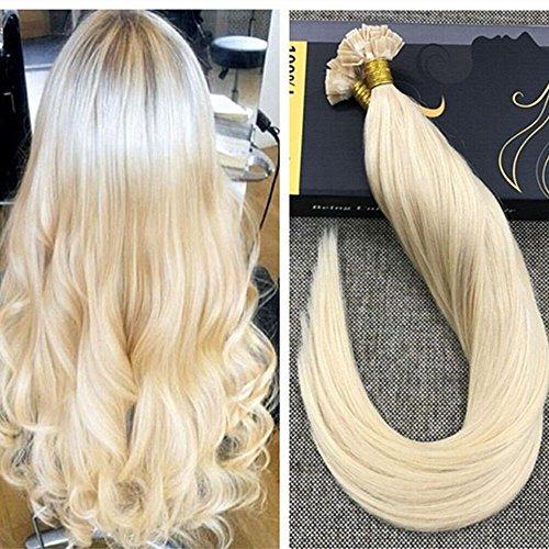 Ugeat Bleach Blond Remy Echthaar Extensions Bondings 50 Echthaarstrahnen 18 Zoll/45cm Flat Tip Glatt Brasilianisch Haarverlangerung 1g/s