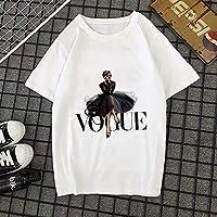 DAJUZI Verano Nueva 2020 Camiseta de Moda Mujer Vogue Estampado de Letras Harajuku Camiseta O-Cuello Camiseta de Manga Corta Tops Blancos Ropa Femenina L 20735