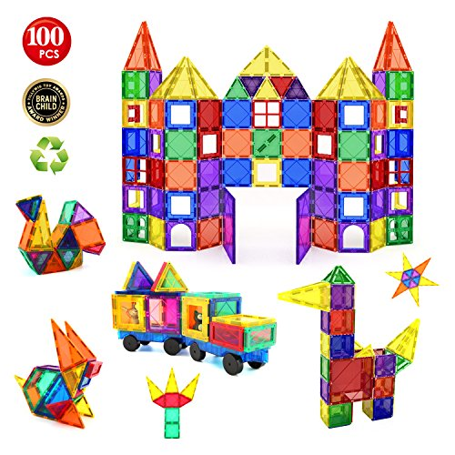 Children Hub 100pcs Magnetic Building Set - Construction Kit Educational STEM Toys For Your Kids (Stronger Magnets)