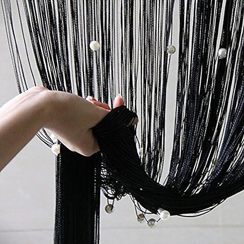 Quaste Perlen Vorhang schwarz String mit Perlen Design Raumteiler Tür Fenster Badezimmer Vorhang für Home Decor Hochzeit Decor