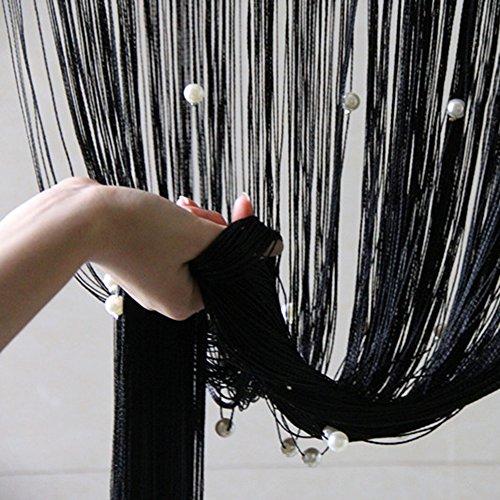 Quasten-Vorhang mit Perlen, schwarz, als Raumteiler oder für Türen, Fenster, Badezimmer, als Heim- oder Hochzeitsdeko (Fenster Vorhang Mit Perlen)