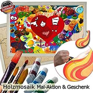 Holzmosaik Hochzeitspuzzle - PORTOFREI inkl. Hochzeitsbuch gratis - kreative Hochzeitsspiele zum Bemalen Set inkl. Farben und Pinsel - Holzpuzzle zur Hochzeit mit Herz in der Mitte 55x40 Rahmen Akazie