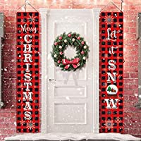 KMUYSL Christmas Decorations - Hanging Xmas Decoration for Home - Merry Christmas LET IT Snow Red Black Buffalo Banners for Indoor Outdoor Front Door Party Wall Decor