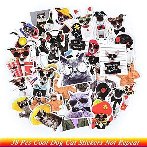 38pcs Cool Dog Cat Mit Sonnenbrille Aufkleber Anzug Katze Gentleman Hund Süße Tier Aufkleber Spielzeug Für Kinder DIY Laptop Gepäck G Ifts