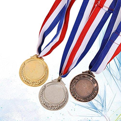 TOYANDONA 3 Stück Sieger im olympischen Metallstil, Gold Silber Bronze Award Medaillen mit Halsbändern, Durchmesser 5,1 cm