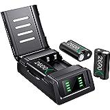 Batteripaket för Xbox One Series X S, Controller Charger Station Laddningsstation med 3x2600mAh Uppladdningsbara Batterier Ti