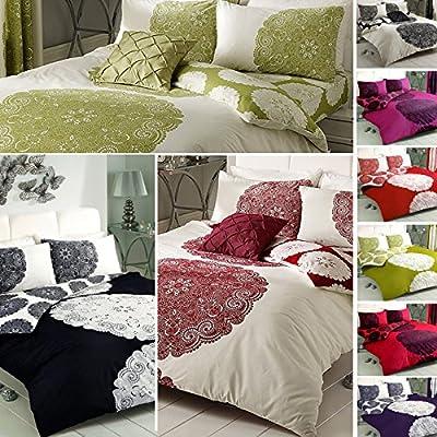 Just Contempo - Juego de funda nórdica y funda de almohada reversible, diseño floral