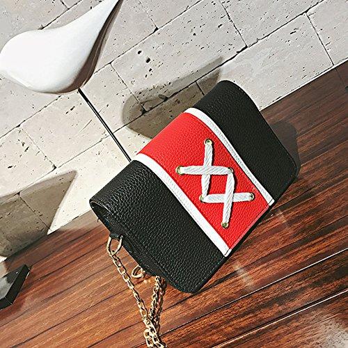 LETTER®Schultertaschen Damen Fashion Lace-up Patchwork Handtasche Schwarz