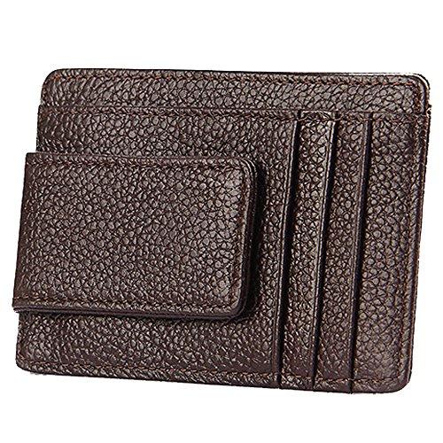iSuperb Portafoglio Sottile Fermasoldi Pelle Porta Carte di Credito RFID Porta Tessere Money Clip Wallet con Calamita 11x7.7x0.4cm (Marrone)
