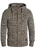 SOLID Pancras Herren Zip-Hoodie Strickjacke Cardigan mit Kapuze aus 100% Baumwolle Meliert, Größe:M, Farbe:Coffee Bean (5973)