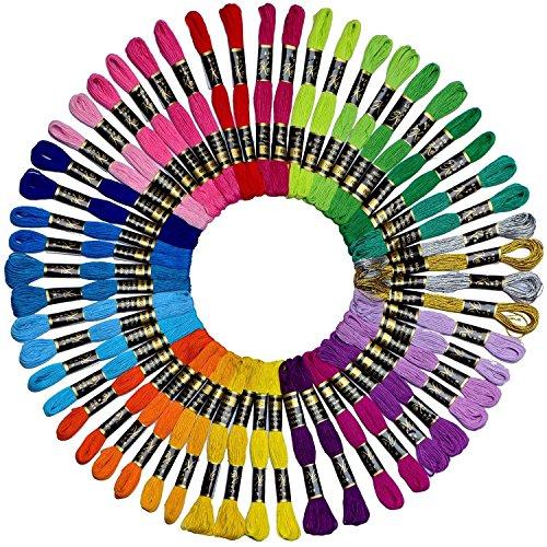 kocean100% Baumwolle Stickerei & Crossstitch Floss- Armbänder String-Crafts Floss-52pcs Premium Rainbow Farbe Stickgarn und Gratis Set von 4Metallic Stickgarn (Hand-stickerei Zahnseide)
