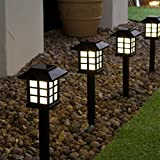 Behavetw Solar-Gartenlichter, weiß, quadratisch, LED Solarlaterne, Gartenstecker